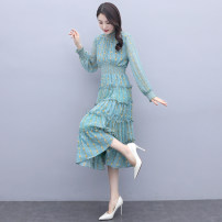 Dress Spring 2021 Picture color M,L,XL,2XL longuette singleton  Long sleeves commute Half high collar High waist Decor Socket Pleated skirt routine Type H Ol style Chiffon