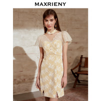 Dress Summer 2021 Ginger  01/S 02/M 03/L Short skirt singleton  Short sleeve commute stand collar High waist Solid color Princess sleeve 25-29 years old Type H MaxRieny Retro Lace More than 95% Lace polyester fiber Polyester 100% Same model in shopping mall (sold online and offline)