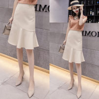 skirt Spring 2021 S,M,L,XL,XXL Apricot, black Middle-skirt commute High waist Ruffle Skirt Solid color Type A Pleated, three-dimensional decoration Ol style