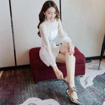 Dress Summer of 2018 Black and white XS S M L Short skirt singleton  Long sleeves commute stand collar High waist Solid color zipper One pace skirt routine Others 25-29 years old Type H NIAT lady 51% (inclusive) - 70% (inclusive) polyester fiber Pure e-commerce (online only)