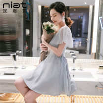 Dress Summer of 2019 Gray blue S M L Short skirt singleton  Sleeveless commute V-neck High waist Solid color zipper A-line skirt routine camisole 25-29 years old Type A NIAT lady Resin fixation of lace mesh zipper 5171A More than 95% polyester fiber Polyester 100% Pure e-commerce (online only)
