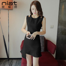 Dress Summer 2020 Black and white S M L Short skirt singleton  Sleeveless commute Crew neck High waist Solid color zipper Irregular skirt other Others 25-29 years old NIAT lady Asymmetric zipper with ruffle stitching 1438C 91% (inclusive) - 95% (inclusive) polyester fiber Exclusive payment of tmall