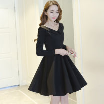 Dress Spring of 2018 S M L XL Middle-skirt singleton  elbow sleeve commute Doll Collar High waist Solid color zipper A-line skirt routine Others 25-29 years old NIAT lady Splicing 30% and below polyester fiber Pure e-commerce (online only)