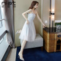 Dress Summer of 2019 Light blue S M L Short skirt singleton  Sleeveless commute One word collar High waist Solid color zipper A-line skirt routine camisole 25-29 years old Type A NIAT lady Resin fixation of stitching mesh zipper 5193A More than 95% polyester fiber Polyester 100%