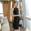Dress Summer 2020 Black and white S M L XL Short skirt singleton  Sleeveless commute Crew neck High waist Solid color zipper A-line skirt other Hanging neck style 25-29 years old Type A NIAT lady 91% (inclusive) - 95% (inclusive) polyester fiber Pure e-commerce (online only)