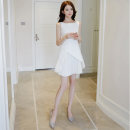 Dress Spring of 2018 White black XS S M L Short skirt singleton  Sleeveless commute Crew neck High waist Solid color zipper Pleated skirt routine Others 25-29 years old Type A NIAT lady Resin fixation of asymmetric zipper with pleated stitching N1899 91% (inclusive) - 95% (inclusive) polyester fiber