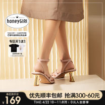 Sandals 34 35 36 37 38 39 Off white [pre-sale 15 days] light purple [pre-sale 15 days] 6cm profiled heel with sandals PU honeyGIRL Barefoot Heteromorphic heel High heel (5-8cm) Summer 2021 Flat buckle Europe and America Solid color Adhesive shoes Youth (18-40 years old) rubber daily Ankle strap PU PU