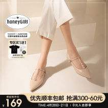 Low top shoes 34 35 36 37 38 39 honeyGIRL Sharp point Superfine fiber Flat bottom Low heel (1-3cm) Shallow mouth PU Spring 2021 Flat buckle Europe and America Adhesive shoes Youth (18-40 years old) Solid color rubber Single shoes Shallow mouth buckle PU leisure time