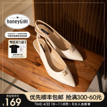 Sandals 34 35 36 37 38 39 Black [in stock] off white [in stock] Baotou sandals PU honeyGIRL Sharp point Fine heel High heel (5-8cm) Summer 2021 Trochanter Europe and America Solid color Adhesive shoes Youth (18-40 years old) rubber daily Rear trip strap Water drill rivet PU PU HG21SP341XT280
