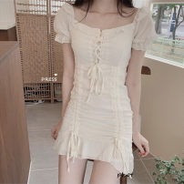 Dress Summer of 2019 Light blue, raspberry red, light naked apricot S,M,L Middle-skirt singleton  Short sleeve commute High waist Solid color Socket puff sleeve 18-24 years old Type H Other / other Korean version