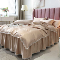 Bedding Set / four piece set / multi piece set Polyester (polyester fiber) Quilting Solid color 133X76 Other / other Polyester (polyester fiber) 4 pieces 40 1.5m bed (quilt cover with 200 * 230), 1.8m bed (quilt cover with 200 * 230), 2.0m bed (quilt cover with 220 * 240) Qualified products other