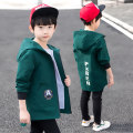 Windbreaker Green, watermelon red 110cm,120cm,130cm,140cm,150cm,160cm Other / other male spring and autumn leisure time No detachable cap Zipper shirt Medium length Polyester 100% Solid color polyester No belt Class B Cotton 100%