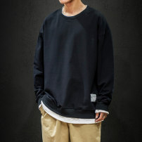 Sweater Youth fashion King of joy Navy black army green XXL 4XL 5XL XXXL XXXXL XXXXXL M L XL 3XL Solid color Socket routine Crew neck autumn easy daily Large size tide Off shoulder sleeve Terry cloth Cotton 100% cotton Splicing washing Autumn of 2019 More than 95% Pure e-commerce (online only)