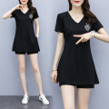 Women's large Summer 2020 black trousers Two piece set commute easy moderate Socket Short sleeve letter Korean version Crew neck Medium length Polyester, cotton Three dimensional cutting routine 30-34 years old Three dimensional decoration 81% (inclusive) - 90% (inclusive) shorts