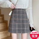 skirt Winter 2020 M,L,XL,2XL,3XL,4XL Brown check ( Safety pants with elastic back waist ) Short skirt commute High waist A-line skirt lattice Type A Wool zipper