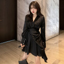 Dress Autumn 2021 White, black S,M,L Short skirt singleton  Long sleeves commute V-neck Solid color Socket A-line skirt shirt sleeve 18-24 years old Type A lady Lace up