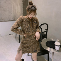 Fashion suit Spring 2021 Average size Leopard top, leopard skirt 18-25 years old
