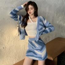 Fashion suit Spring 2021 Average size Blue coat, blue skirt, white undershirt 18-25 years old