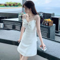 Dress Summer 2020 white S,M,L,XL Short skirt singleton  Sweet High waist Solid color Socket A-line skirt camisole 18-24 years old Type A Bow, open back, nail bead