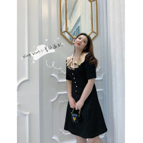 Women's large Spring 2021 black Size 1 (about 115-130 kg), size 2 (about 130-145 kg), size 3 (about 145-160 kg), size 4 (about 160-175 kg), size 5 (about 175-190 kg) skirt singleton  moderate 20SS D34 Charming Witch Medium length Pleated skirt