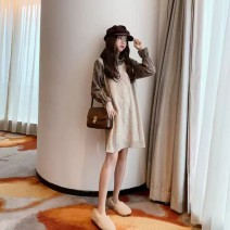 Dress Autumn 2020 Khaki, black S,M,L,XL Middle-skirt Fake two pieces Long sleeves commute Polo collar Solid color ITbuy+ Korean version 81% (inclusive) - 90% (inclusive) cotton