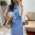 Dress Summer 2021 Black, blue sky, opaque white S,M,L Mid length dress singleton  Short sleeve Socket D235