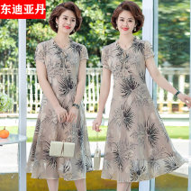 Middle aged and old women's wear Summer 2021 grey XL(80-110) XXL(110-120) XXXL(120-140) 4XL(140-160) fashion Dress easy singleton  Broken flowers 40-49 years old Socket moderate Medium length DDYD-ML2035 East Didan other Other 100% 96% and above Pure e-commerce (online only) polyester fiber