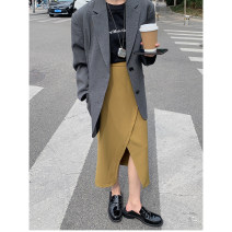 skirt Spring 2021 M, L Black, mustard yellow Mid length dress commute Natural waist High waist skirt Solid color Type H 18-24 years old WJ-LU1706 More than 95% Other / other cotton Korean version