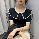 Wool knitwear Spring 2021 S M L XL Black and white Short sleeve singleton  Socket other More than 95% Regular routine commute Self cultivation Doll Collar routine Solid color Single breasted Korean version PMMR2103093 25-29 years old Bubble beauty Button Other 100% Pure e-commerce (online only)
