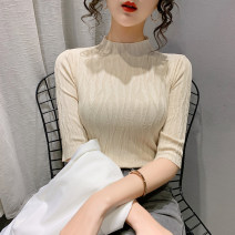 Wool knitwear Spring 2021 S M L XL Blue Black Beige Pink Short sleeve singleton  Socket other More than 95% Regular Thin money commute Self cultivation Half height crew neck routine Solid color Socket Korean version PMMR2103075 25-29 years old Bubble beauty thread Other 100%