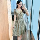 Dress Summer 2021 Yellow green S M L XL Middle-skirt singleton  Short sleeve commute square neck High waist lattice Socket A-line skirt routine Others 25-29 years old Type A Yunmi Flower Fairy Korean version bow 3589S More than 95% other polyester fiber 100.00% polyester Pure e-commerce (online only)
