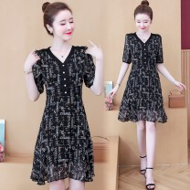 Dress Summer 2021 black M L XL 2XL 3XL 4XL Middle-skirt singleton  Short sleeve commute V-neck middle-waisted letter Socket A-line skirt routine Others 25-29 years old Type A Yunmi Flower Fairy Korean version Button 620S More than 95% other polyester fiber 100.00% polyester
