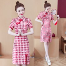 Dress Summer 2021 gules M L XL 2XL 3XL 4XL Middle-skirt singleton  Short sleeve commute stand collar middle-waisted lattice zipper A-line skirt routine Others 25-29 years old Type A Yunmi Flower Fairy Korean version Asymmetry 663S More than 95% other polyester fiber 100.00% polyester