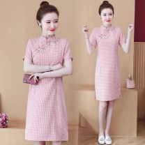 Dress Summer 2021 Pink M L XL 2XL 3XL 4XL Middle-skirt singleton  Short sleeve commute stand collar middle-waisted lattice zipper A-line skirt routine Others 25-29 years old Type A Yunmi Flower Fairy Korean version Embroidery 628S More than 95% other polyester fiber 100.00% polyester