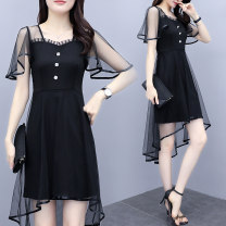 Women's large Summer 2021 black Large XL Large XXL large XXXL large XXXXL large XXXXL large Dress singleton  commute Self cultivation moderate Socket Short sleeve Solid color Korean version Crew neck Medium length other Three dimensional cutting routine 825# Magic shield 25-29 years old longuette
