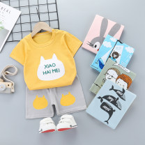 suit Small return to beauty 80cm, 90cm, 100cm, 110cm, 100cm and 120cm respectively neutral summer Korean version other 2 pieces Thin money No model Socket nothing Cartoon animation cotton children Expression of love DT16 Class A Cotton 95% flax 5% Chinese Mainland Henan Province Shangqiu City