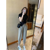 Fashion suit Summer 2021 S M L XL Black top + grey trousers 18-25 years old To knock Polyester 100% Pure e-commerce (online only)