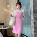 Dress Autumn 2020 Pink S M L XL XXL Mid length dress Fake two pieces Long sleeves commute V-neck High waist Solid color A-line skirt pagoda sleeve 18-24 years old Neusier Korean version Splicing L1507RX More than 95% polyester fiber Polyester fiber 94.9% polyurethane elastic fiber (spandex) 5.1%