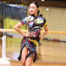 Latin dance practice set Warm tips of black Flowing Clouds and flowing water: one pair of underpants of the same color is free (do not shoot this item) Cat degree female M L XL XXL MD8108 Short sleeve Remba Chacha Samba cowboy bullfight Summer of 2018