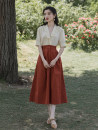 Women's large Summer 2021 A set of red rice S M L XL Dress Two piece set commute moderate Cardigan elbow sleeve literature V-neck routine routine 210311-3 Fengluan square 18-24 years old Medium length Other 100% Pure e-commerce (online only) Pencil skirt