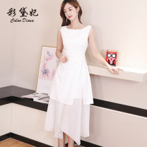 Dress Summer of 2019 White, black, red S M L XL longuette singleton  Sleeveless commute High waist Solid color 25-29 years old Caidaifei Korean version L829RX 91% (inclusive) - 95% (inclusive) polyester fiber Polyester fiber 93.5% polyurethane elastic fiber (spandex) 6.5%