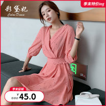 Dress Summer of 2019 Pink apricot S M L Short skirt singleton  commute High waist 25-29 years old Caidaifei Korean version ZBL0035 More than 95% polyester fiber Polyester 100%