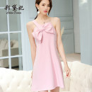 Dress Spring of 2019 Pink S M L Short skirt singleton  commute High waist Solid color Socket Others 25-29 years old Caidaifei Korean version L515RX More than 95% polyester fiber Polyester fiber 94.9% polyurethane elastic fiber (spandex) 5.1%