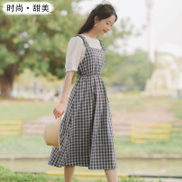Dress Summer 2021 S,M,L,XL Mid length dress Two piece set Short sleeve commute Crew neck High waist lattice Socket A-line skirt other camisole 18-24 years old Type A Other / other Korean version 71% (inclusive) - 80% (inclusive) Cellulose acetate