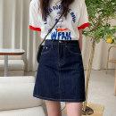 skirt Summer 2020 L,XL,M,2XL,3XL,4XL navy blue Short skirt commute High waist Denim skirt Solid color Type A 18-24 years old Yueban 9089 Denim cotton Korean version