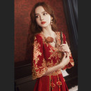 Dress / evening wear Weddings, adulthood parties, company annual meetings, daily appointments S M L XL XXL XXXL claret Retro longuette middle-waisted Winter 2020 Fall to the ground Deep collar V zipper 18-25 years old JB2009100 other Jiaostep other Other 100% other