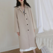 woolen coat Autumn of 2018 S M L polyester 91% (including) - 95% (excluding) have more cash than can be accounted for Long sleeves commute Single breasted routine square neck Solid color Straight cylinder Korean version Auruti 18-24 years old Pocket button Solid color Imitation fabric