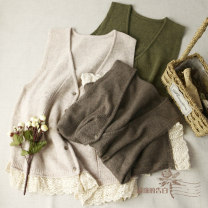 Vest Autumn of 2019 Autumn green, Mocha Brown, oatmeal rice One size, regardless of size, depending on the size