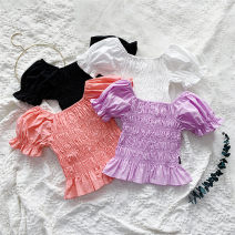 shirt White, black, purple, pink Other / other female 80cm,90cm,100cm,110cm,120cm,130cm summer Short sleeve leisure time Solid color Other 100% X55216 Class B