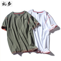 T-shirt Youth fashion White, black, green routine S M L XL 2XL 3XL 4XL 5XL Ramo / rambling Long sleeves Crew neck easy Other leisure summer 21B654 Cotton 100% youth routine tide Summer 2021 No iron treatment